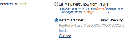 option in paypal to use bill me later