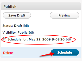 The scheduled publish date