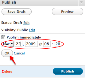 Set the WordPress publish on date