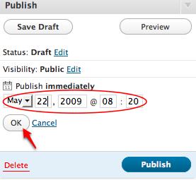 Set the WordPress publish on date