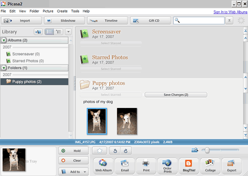 screen shot - Picasa 2 interface workspace