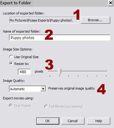 screen shot - Picasa 2 export options