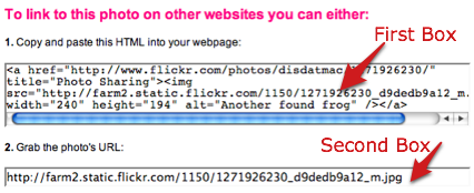 flickr will create the html code